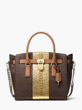 Michael Kors Hamilton Embossed-Leather And Logo Satchel - BROWN - STYLE