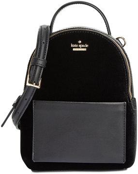 Kate Spade Watson Lane Velvet Merry Mini Crossbody Backpack - BLACK - STYLE