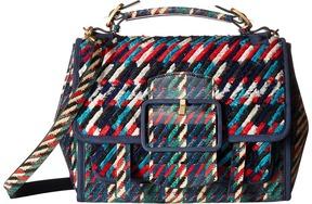 Tory Burch Sawyer Woven Satchel Satchel Handbags - LIBERTY RED MULTI DOGTOOTH - STYLE