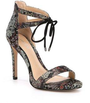 Gianni Bini Jordie Floral Brocade Ankle Tie Dress Sandals