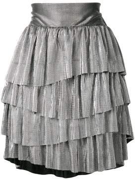 Christian Pellizzari metallic ruffled mini skirt