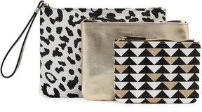 Neiman Marcus Triple Travel Pouch Set, Black/White/Multi