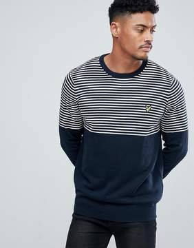 Lyle & Scott Half Breton Stripe Sweater In Navy