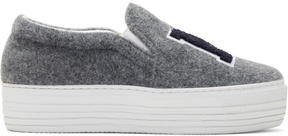 Joshua Sanders Grey Felt NY Platform Slip-On Sneakers