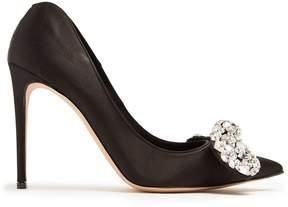 Alexander McQueen Crystal-embellished bow heart-shaped heel pump