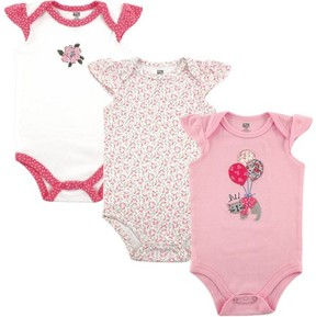 Hudson Baby Girl Cap-Sleeve Bodysuits, 3-Pack