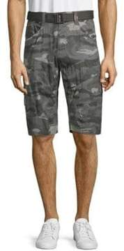 ProjekRaw Belted Printed Cotton Twill Cargo Shorts