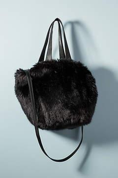 Anthropologie Shimmer Faux Fur Tote Bag