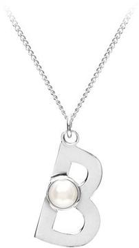 Aspinal of London Sterling Silver Akoya Pearl Alphabet Pendant Necklace