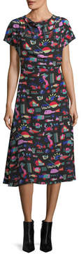 Emporio Armani Cyber Underwater World Printed Silk Midi Dress