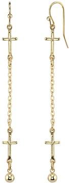 1928 14k Gold-Plated Cross Linear Drop Earrings