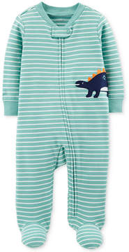 Carter's Baby Boys Striped Dinosaur Footed Cotton Coverall