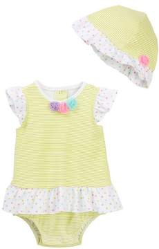 Little Me Pompom Print Popover Bodysuit & Hat Set (Baby Girls)