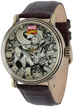 Marvel Vintage Spider-Man Mens Brown Leather Strap Watch