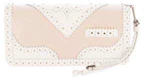 Christian Dior Satin Lace-Trimmed Wristlet