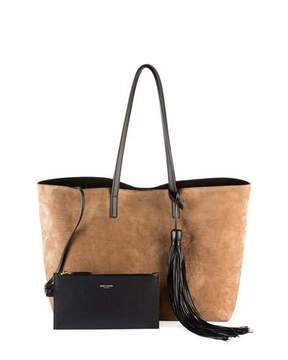 Saint Laurent Large East-West Suede Tote Bag w/ Tassel - BROWN/BLACK - STYLE