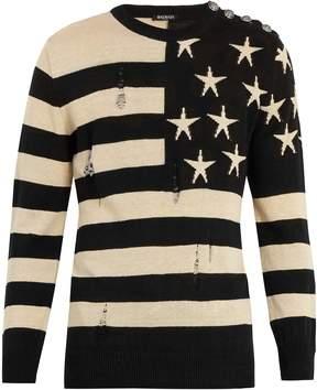 Balmain American flag-intarsia linen sweater