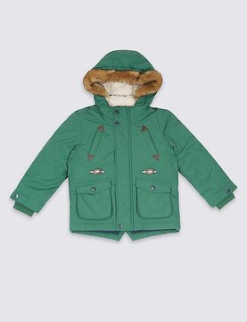 Marks and Spencer Faux Fur Hooded Parka with StormwearTM (3 Months - 7 Years)