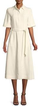 Burberry Carmen Short-Sleeve Belted Swing Dress