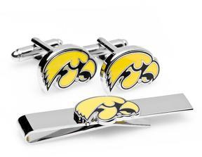 Ice University of Iowa Hawkeyes Cufflinks and Tie Bar Gift Set