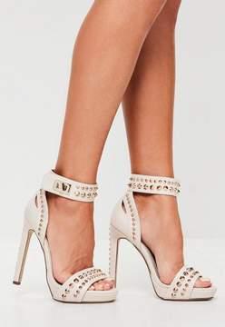 Missguided Nude Studded Heel Platform Sandals
