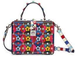 Dolce & Gabbana Miss Dolce Floral-Embellished Leather Top-Handle Bag - RED-MULTI - STYLE