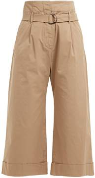 Brunello Cucinelli High-rise cropped cotton-blend trousers