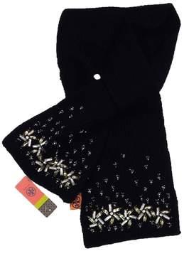 Tory Burch Black Wool Embellished Scarf