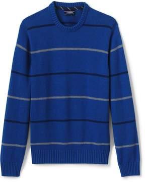 Lands' End Lands'end Men's Drifter Cotton Stripe Crew Sweater