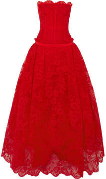 Alexander McQueen Lyon Strapless Corded Lace And Tulle Gown - Red