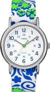 Timex TW2P90300 Weekender Women's Watch Flower Pattern- White, Blue, Green 38mm Stainless Steel