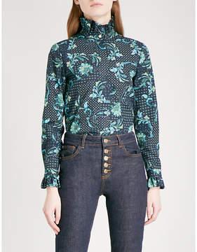 Claudie Pierlot Faux-pearl button paisley-print cotton blouse