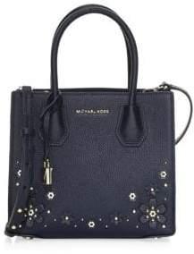 MICHAEL Michael Kors Mercer Floral Embellished Leather Messenger Bag