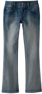 Mudd Girls Plus Size Double Button Skinny Bootcut Jeans
