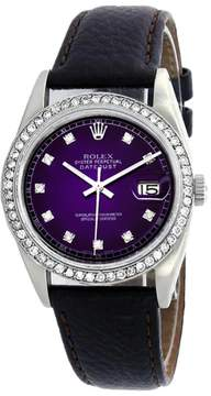 Rolex Datejust 16014 Stainless Steel & Purple Vignette Diamond Dial 36mm Mens Watch
