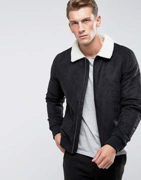 ONLY & SONS Faux Suede Jacket With Fleece Collar