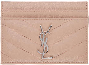 Saint Laurent Pink Quilted Monogram Card Holder - PINK - STYLE