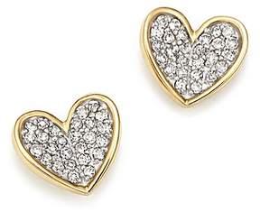 Adina 14K Yellow Gold Tiny Pavé Diamond Folded Heart Stud Earrings