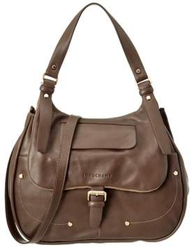 Longchamp Balzane Leather Hobo. - KHAKI - STYLE