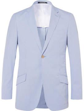 Richard James Blue Seishin Slim-Fit Striped Cotton-Blend Seersucker Blazer