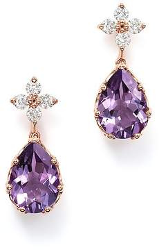 Bloomingdale's Diamond & Amethyst Drop Earrings in 14K Rose Gold - 100% Exclusive