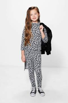 boohoo Girls Leopard Print High Low Top & Legging Set