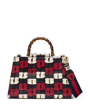 Gucci Nymphea Medium Bamboo-Handle Tote Bag, Blue/White/Red - BLUE/WHITE/RED - STYLE