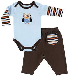Hudson Baby Blue & Brown Stripe Owl Bodysuit & Pants - Infant