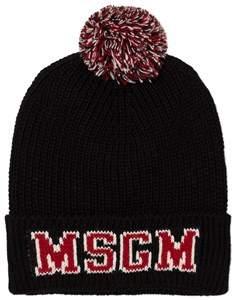 MSGM Black and Red Pom Pom Beanie