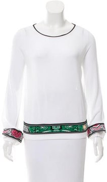 Class Roberto Cavalli Long Sleeve Embroidered Top