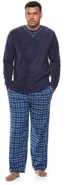 Chaps Big & Tall Microfleece Top & Plaid Flannel Sleep Pants Set