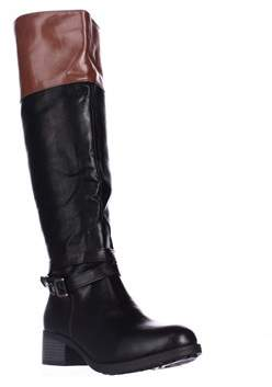 Rampage Imelda Knee-high Riding Boots, Black/cognac.