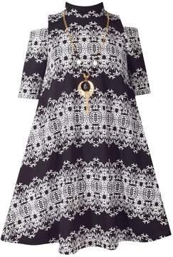 Bonnie Jean Girls 7-16 Textured Knit Cold Shoulder A-Line Dress