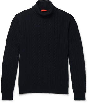 Isaia Cable-Knit Cashmere Rollneck Sweater